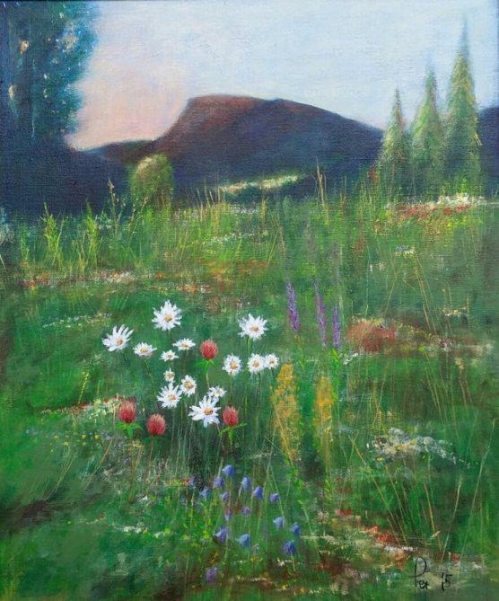 Tidlig morgen over blomsterenga, akryl, 65x54 cm