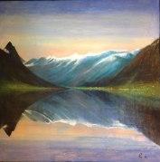 Vannspeiling i stille kveld, akryl, 80x80 cm