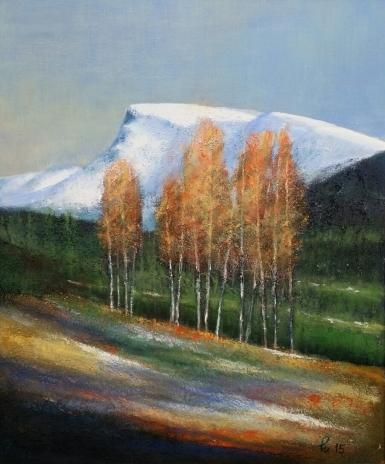 Etter første snøfall, akryl, 46x55 cm