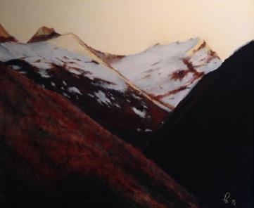Kveldssola hilser Riksheimdalen, akryl, 55x46 cm