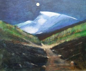 Måne over Nibba og gamleveien, akryl, 65x54 cm