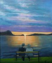 Varme følelser ved solnedgang over Storfjorden, akryl, 46x38 cm