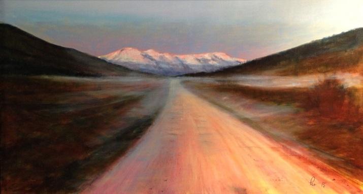 Veien til Soria Moria går gjennom Fasteindalen en lys sommermorgen, akryl, 90x50 cm