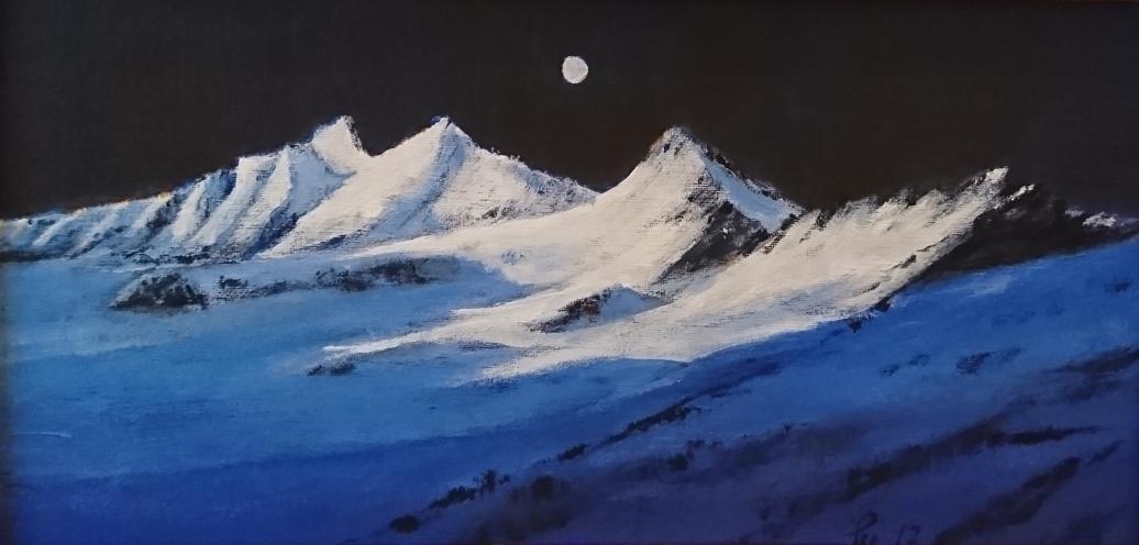 Måne over Råna (40x20 cm)