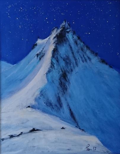 Stjernenatt over trollkyrkja (50x40 cm)