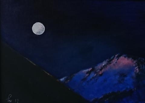 Stor måne en tidlig morgen mellom Stavekollen og Flathornet (33x24 cm)